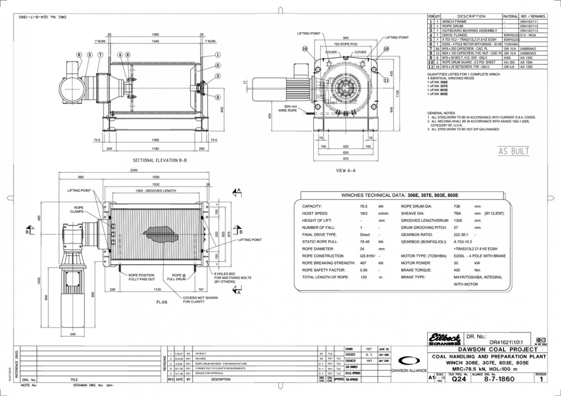 8t Dynamic Conveyor Take Up Winches Braking Resistor Wiring Diagram Technical Data